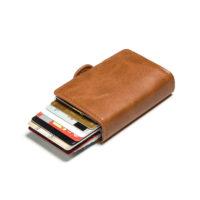 Porte cartes protection RFID, double caramel